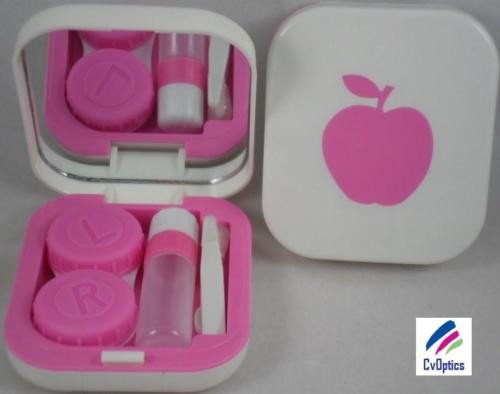 Pink Pink Design Contact Lens Travel Kit With Mirror