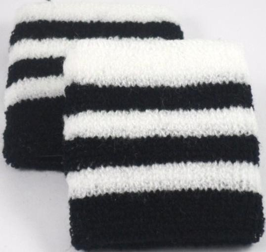 Black and White Striped Sweatband / Armband