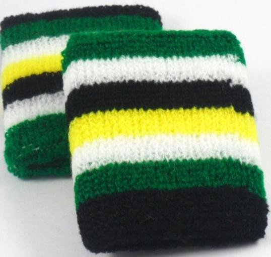 Green Black White Yellow Striped Sweatband