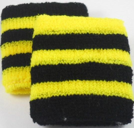 Black and Yellow Striped Sweatband / Armband