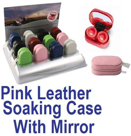 Baby Pink Leather Contact Lens soaking Case With Mirror