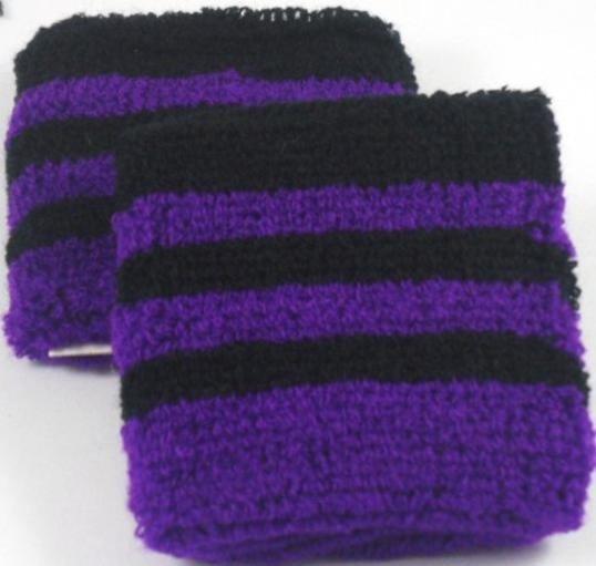 Black and Purple Striped Sweatband / Armband