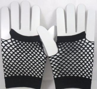 Short Neon Fishnet Fingerless Gloves one size - Black