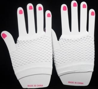 Short Neon Fishnet Fingerless Gloves one size - White