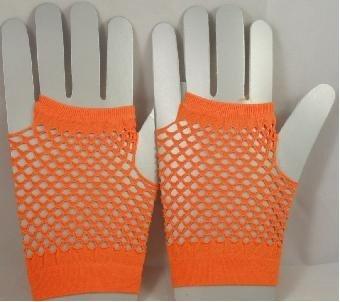 Short Neon Fishnet Fingerless Gloves one size - Orange