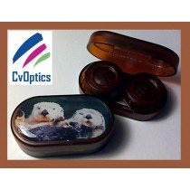 Sea Otters Endangered Species Contact Lens Soaking Case