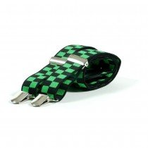 Unisex Printed Neon Green & Black Chequered Fashion Braces