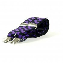 Unisex Printed Purple & Black Chequered Fashion Braces