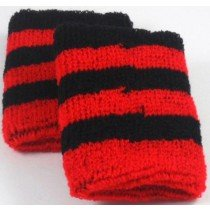 Black and Red Striped Sweatband / Armband