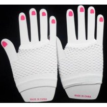 Short Neon Fishnet Fingerless Gloves one size - White