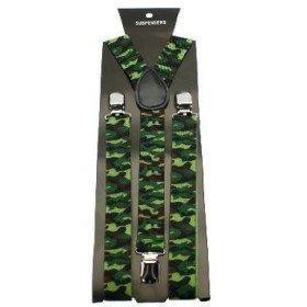 Unisex Printed Green Camouflage Fashion Braces