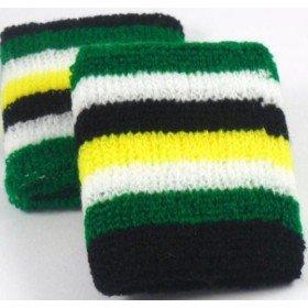 Green Black White Yellow Striped Sweatband