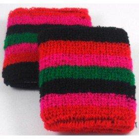 Green Black Red Pink Striped Design Sweatband