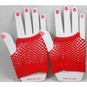 Short Neon Fishnet Fingerless Gloves one size - Red