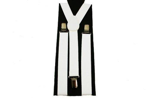 Unisex Plain White 25mm Fashion Braces