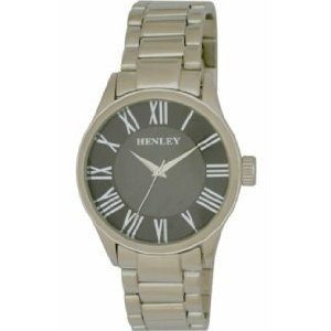 Henley Men's Black Round Dial Watch With Silver Bracelet