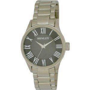 Henley Men's Black Round Dial Watch With Silver Bracelet