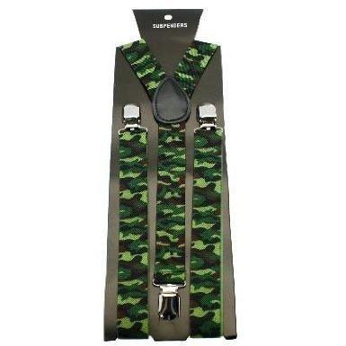 Unisex Printed Green Camouflage Fashion Braces