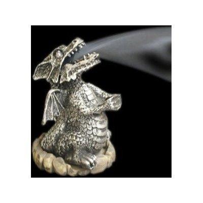 Silver Smoking Dragon Incense Cone Holder Burner