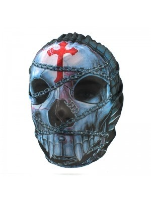 Biker Mask Chained Skull & Red Crucifix Design