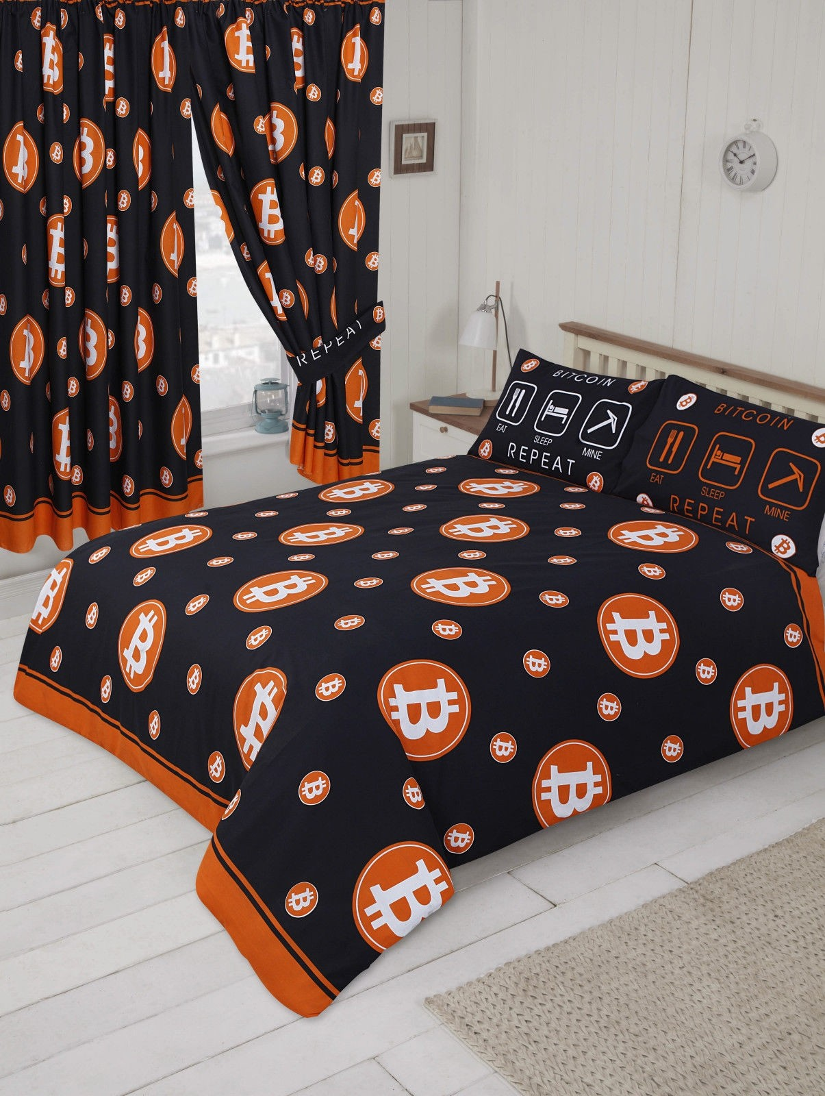"66"" x 72"" Bitcoin Currency Logo Orange Black Design Curtains & Matching Tie Backs"
