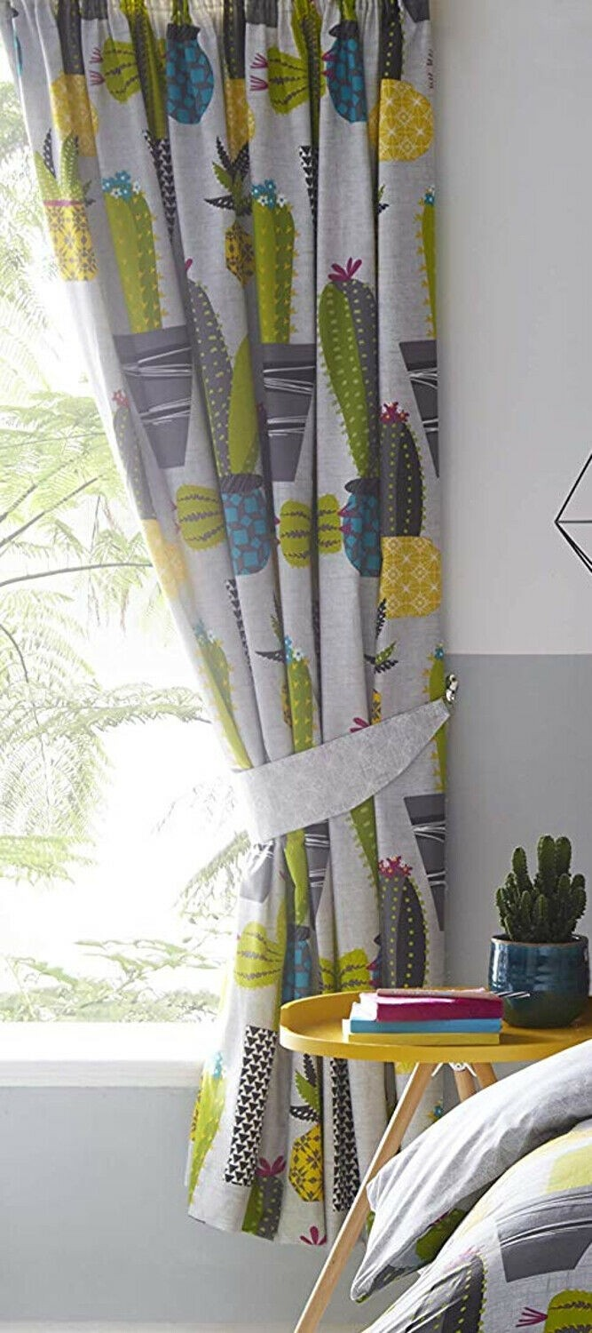 """66"""" x 72"""" Potted Cactus Design Curtains & Matching Tie Backs"""