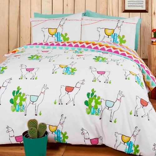 Single Size Happy Llama Design Reversible Duvet Cover & Matching Pillowcase