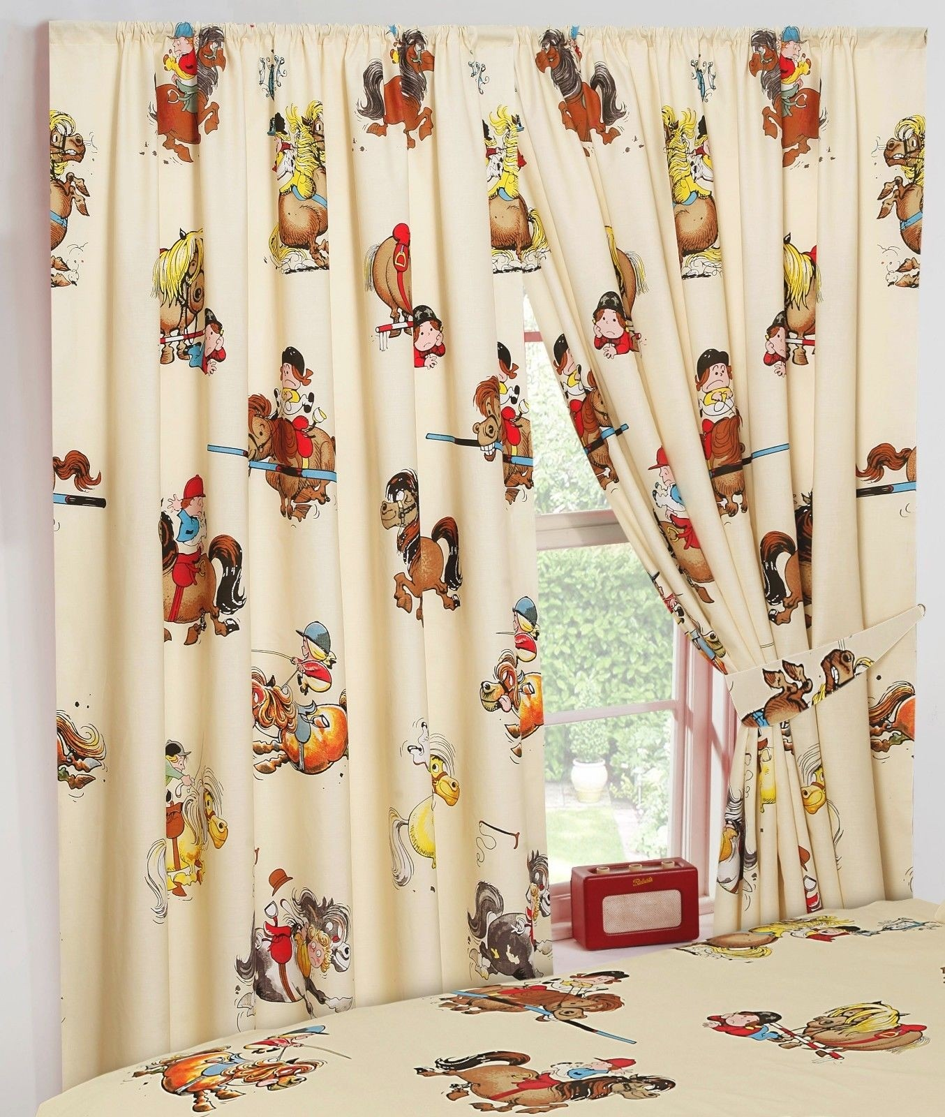"66"" x 54"" Thelwell Cartoon Dressage Horse Pony Cream Unlined Pencil Pleat Curtains Tie Backs"