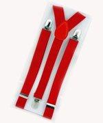 Unisex Plain Red 25mm Fashion Braces