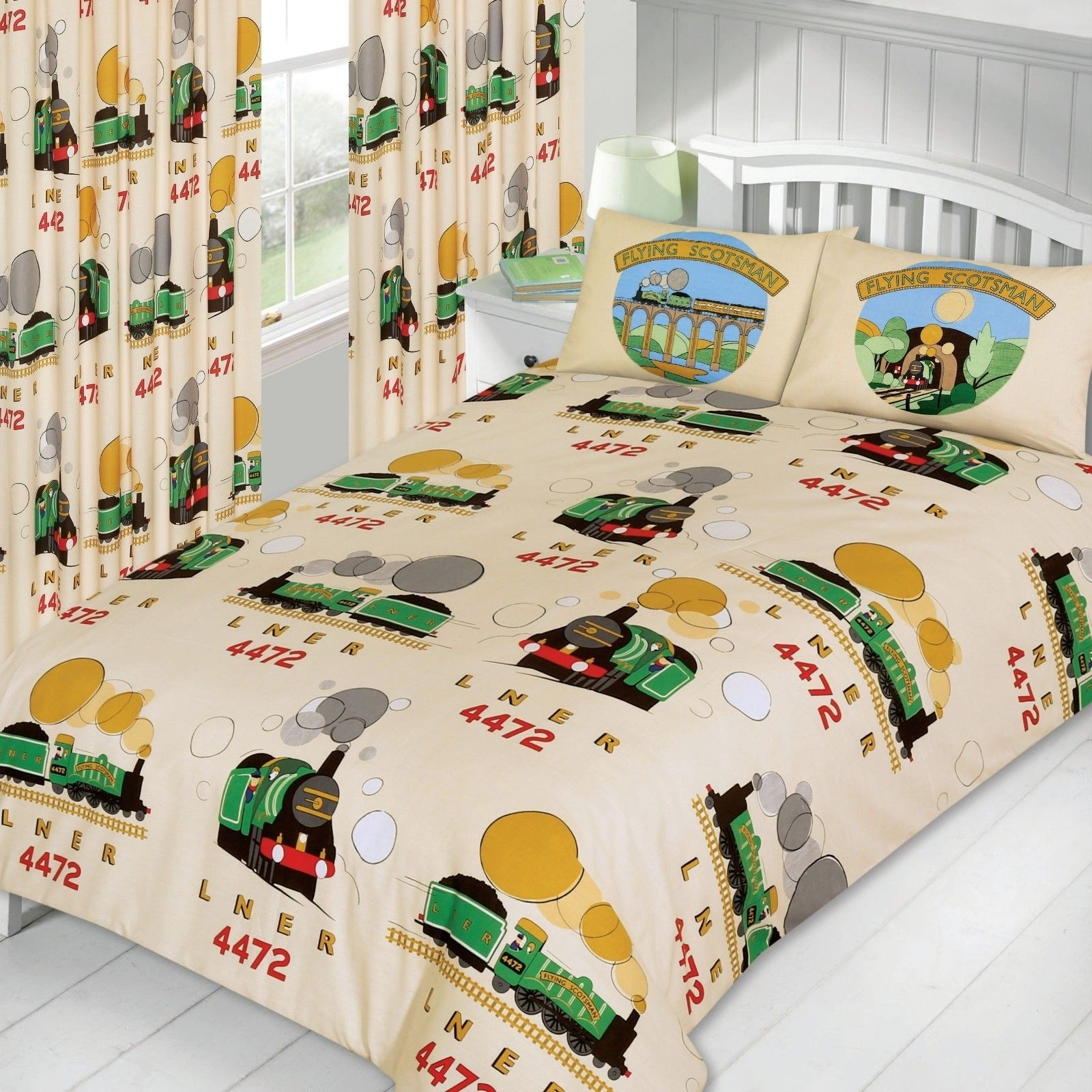 Little Flying Scotsman Green Train Cream Junior Size Duvet Cover Set