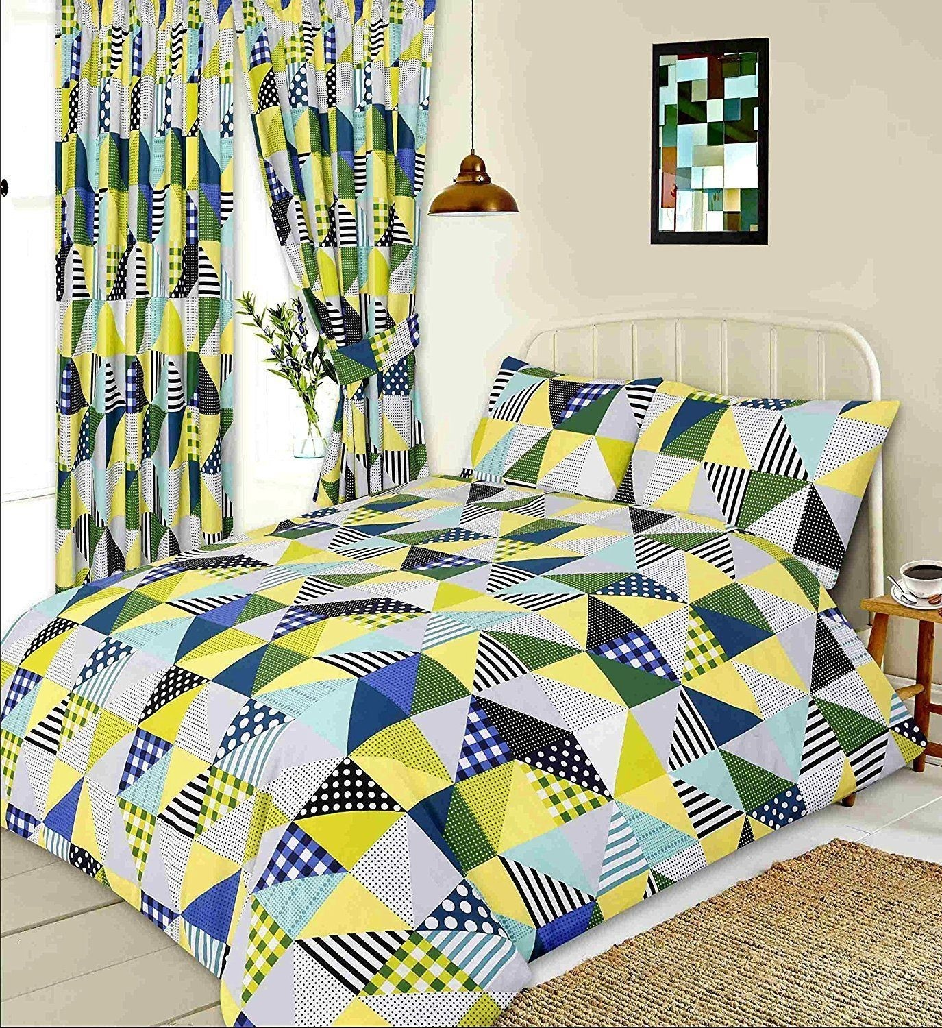 Double Size Geometric Patchwork Design Lime Green, Blue Duvet Cover & Matching Pillowcases