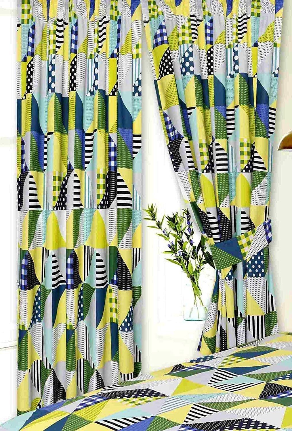Geometric Patchwork Design Lime Green, Blue Curtains & Matching Tie Backs