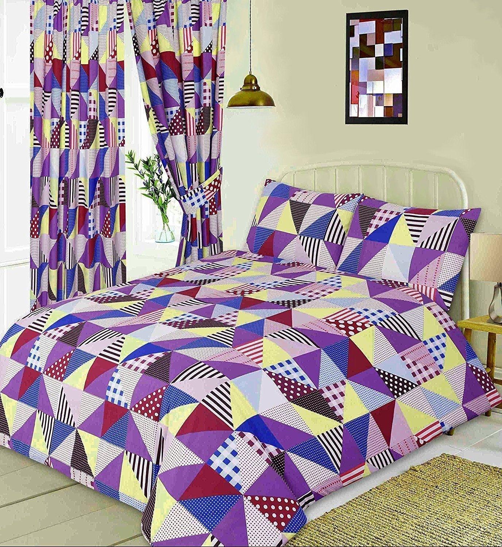 Double Size Geometric Patchwork Design Purple, Blue & Yellow Duvet Cover & Matching Pillowcases