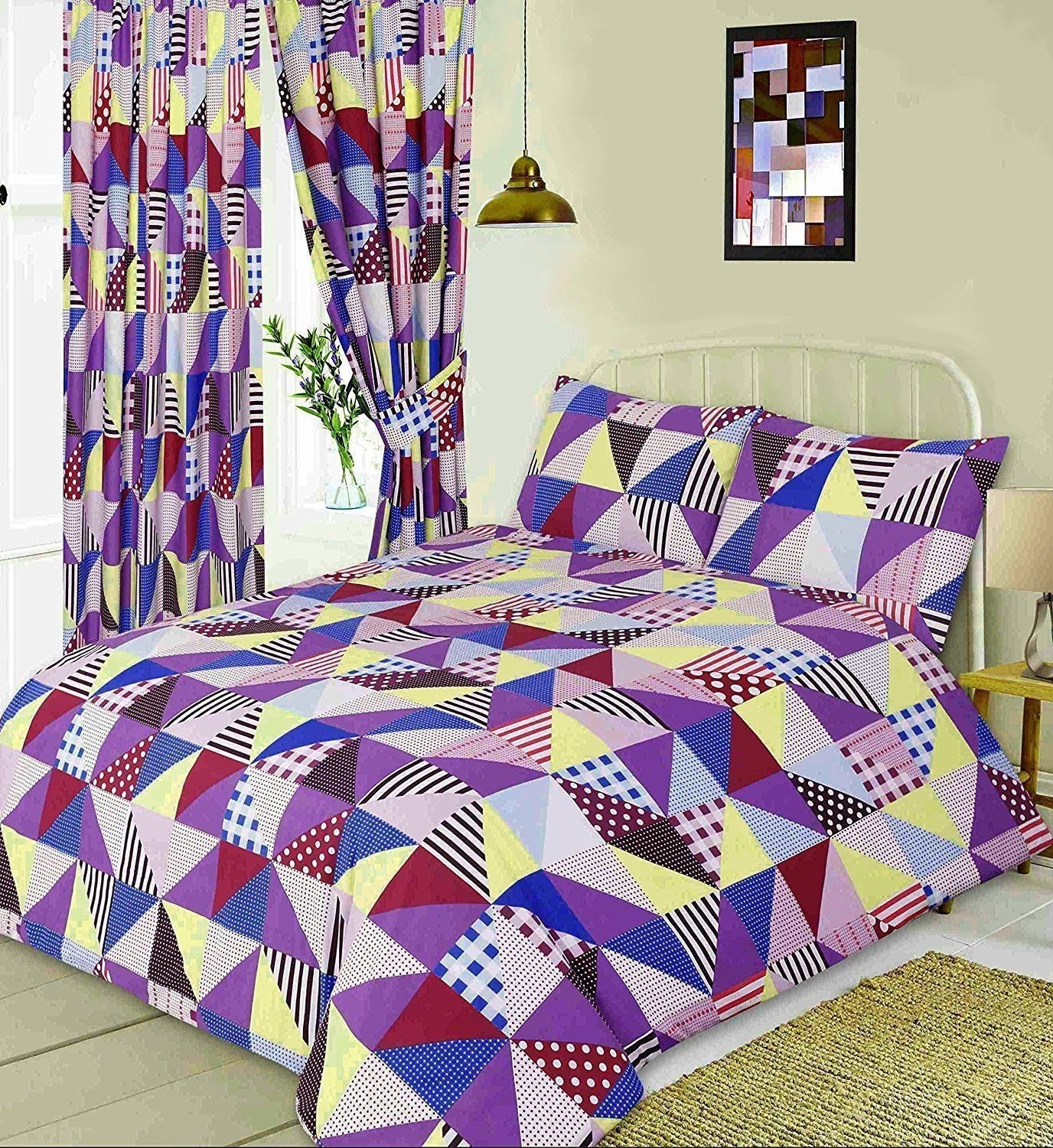 King Size Geometric Patchwork Design Purple, Blue & Yellow Duvet Cover & Matching Pillowcases