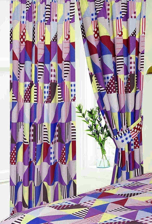 Geometric Patchwork Design Purple, Blue & Yellow Curtains & Matching Tie Backs