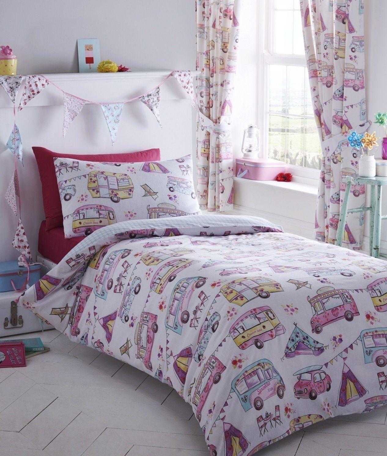 King Size Glamping Camping Caravan Design Reversible Duvet Cover & Matching Pillowcases