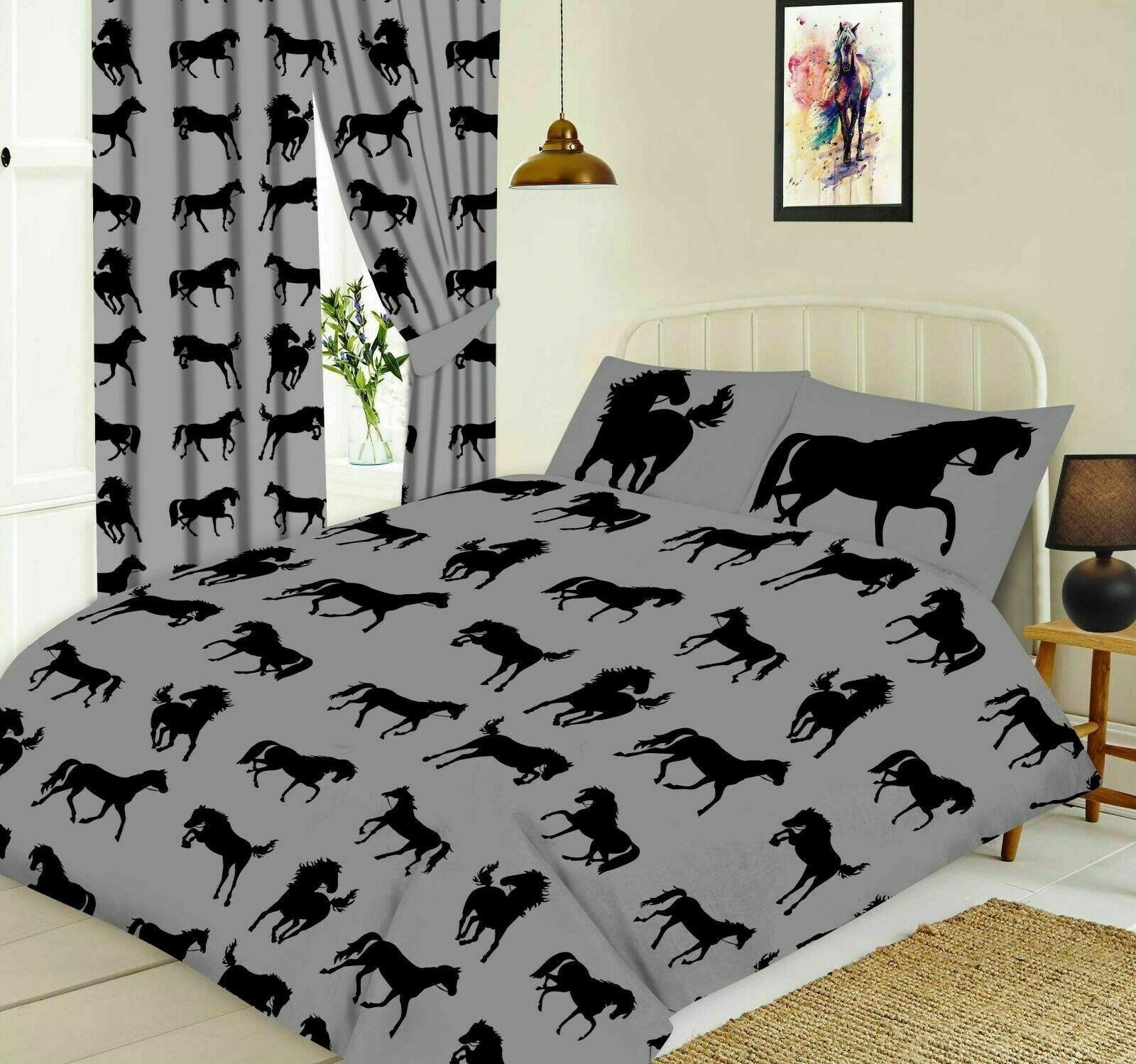 Black Horse Silhouette Design Slate Grey Double Bed Duvet Cover Bedding Set