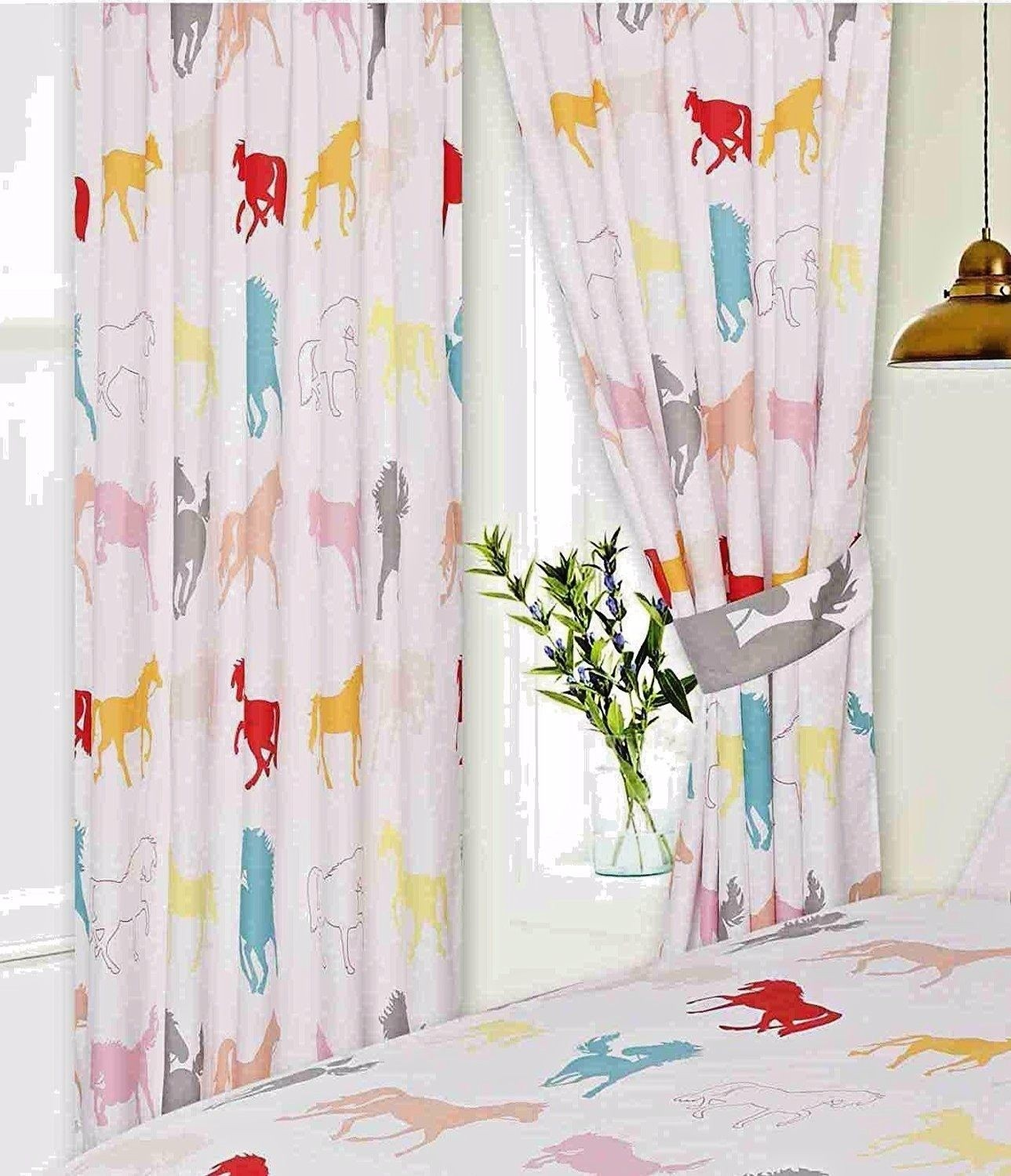 """66"""" x 54"""" Coloured Horse Silhouette Design White Pencil Pleat Curtains With Tie Backs"""