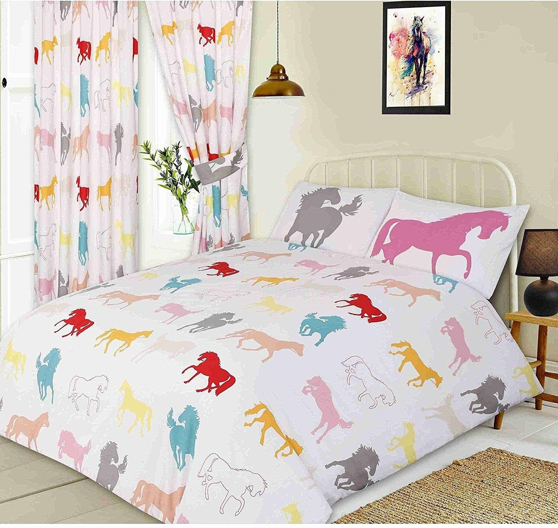 Coloured Horses Silhouette Design White King Size Bed Duvet Cover Bedding Set