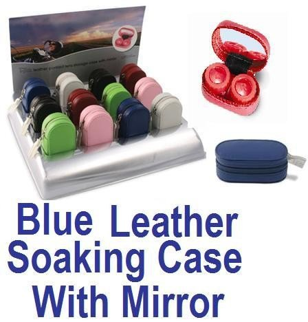 Blue Leather Contact Lens soaking Case With Mirror