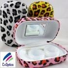 Yellow Leopard Print Contact Lens Storage Soaking Travel Kit