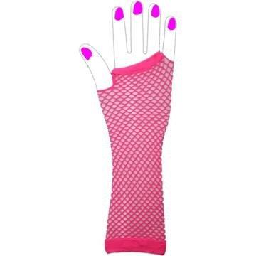 Two Long Neon Fishnet Fingerless Gloves one size - Pink