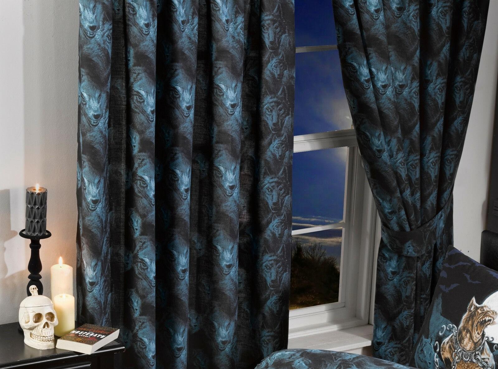 "66""x72"" Alchemy Loups Garou Design Gothic Curtains & Tie Backs"