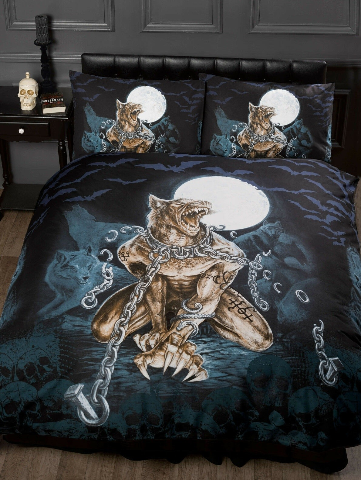 Single Size Alchemy Loups Garou Design Gothic Duvet Cover & Matching Pillowcases