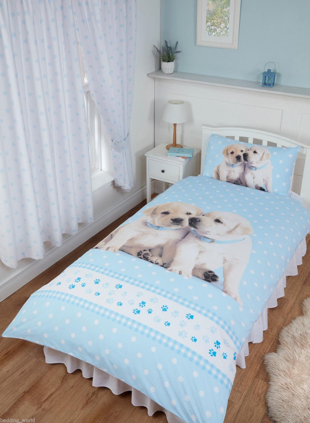 Single Size Luke & Leia Cute Labrador Puppies Design Reversible Duvet Cover & Matching Pillowcase