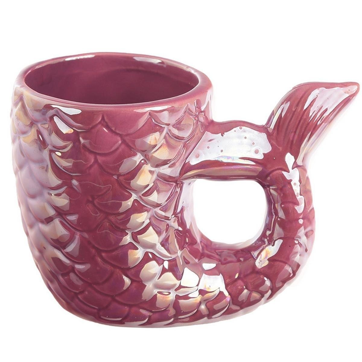 Enchanted Seas 3D Pink Purple Iridescent Mermaid Tail Mug