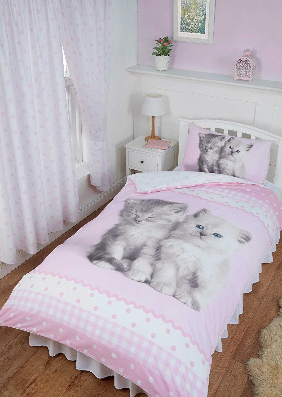 Single Size Misty & Mac Cute Kittens Design Reversible Duvet Cover & Matching Pillowcase