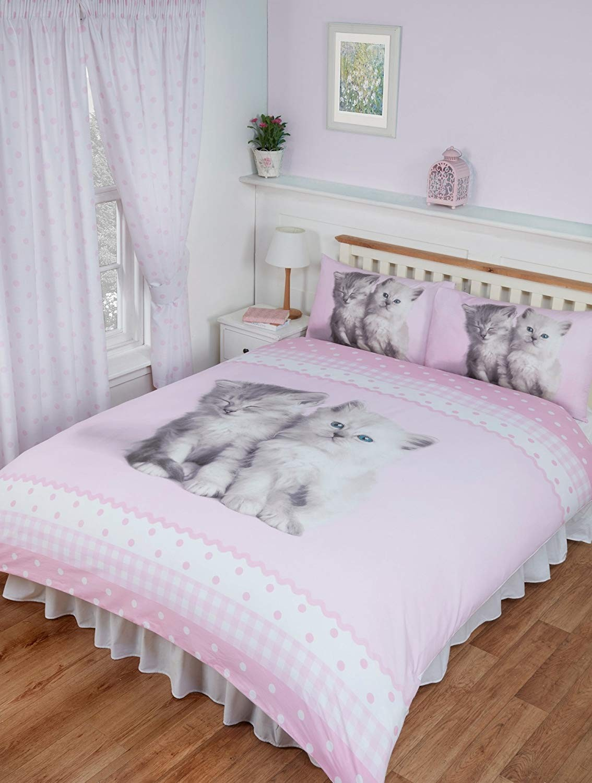 Double Size Misty & Mac Cute Kittens Design Reversible Duvet Cover & Matching Pillowcases