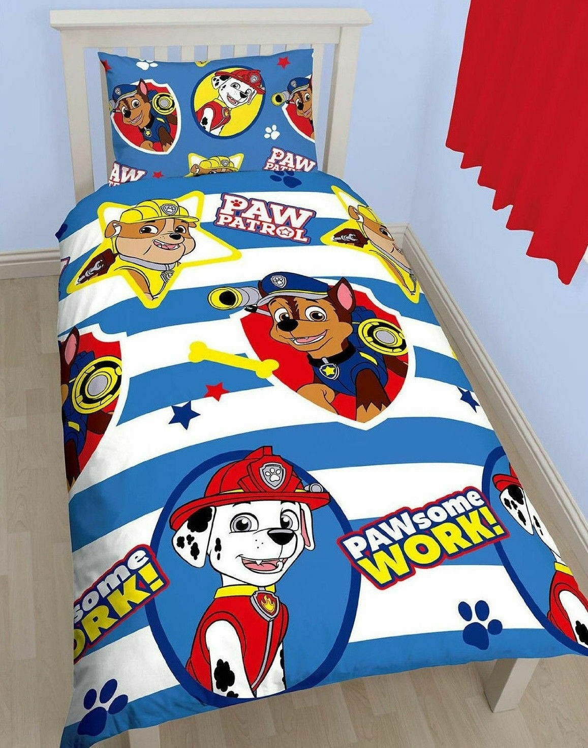 Single Size Paw Patrol PAWsome Work Design Duvet Cover & Matching Pillowcase