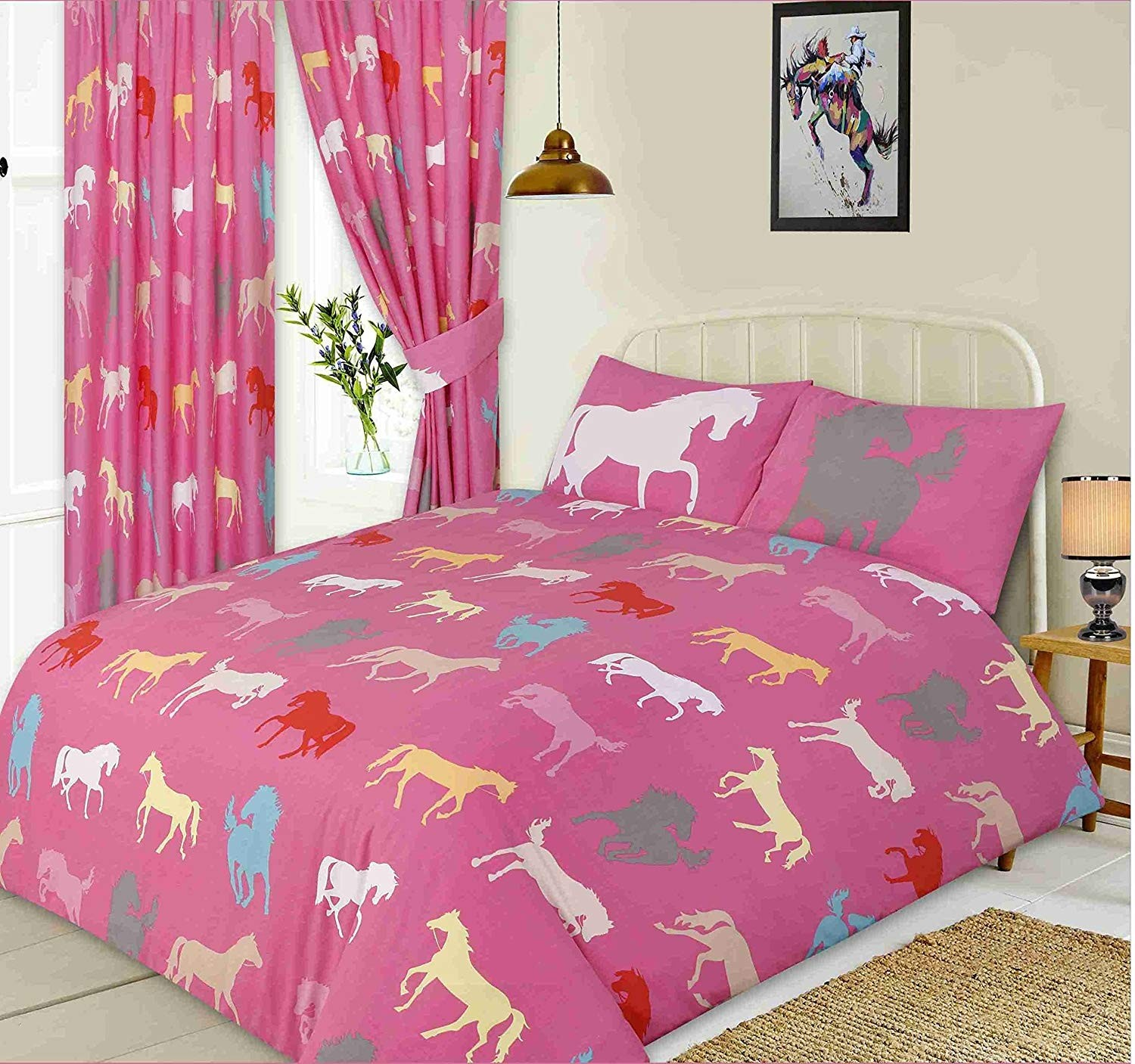 Horse Silhouette Design Pink Double Bed Duvet Cover Bedding Set